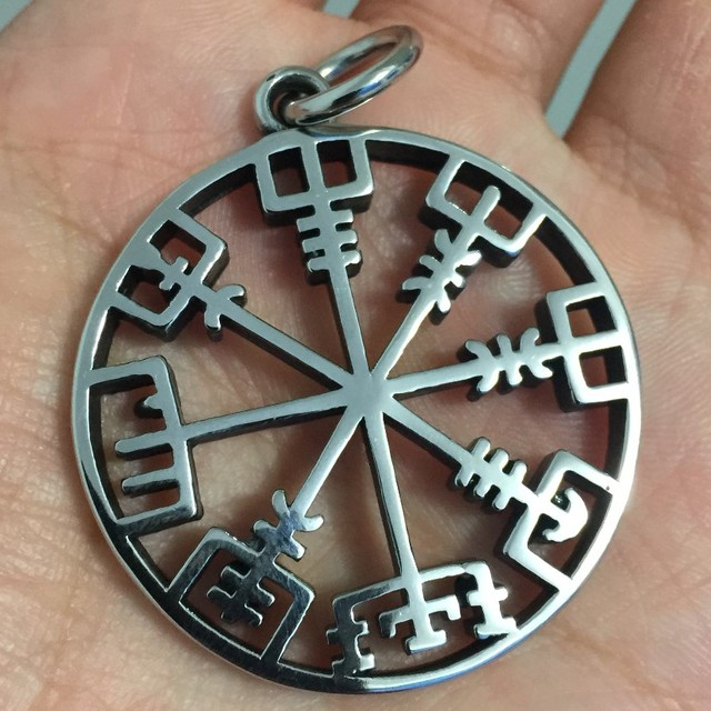 316L stainless steel vegvisir norse Nordic Odin Viking Compass Pendant for Viking Necklace 1