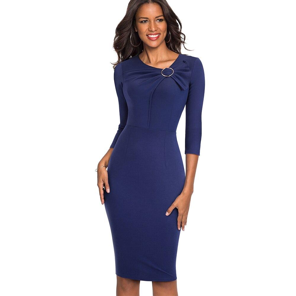 b257e35349 Elegancki Jednolity Kolor Ubrać do Pracy Skinny Biznes Sukienka Moda Kolan Bodycon  Kobiety Biuro Sukienka EB481