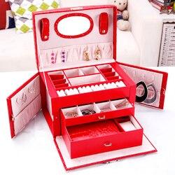Модные серьги кольца ожерелье чехол для хранения Элегантный женский кожаный ящик для ювелирных изделий Органайзер контейнер для ювелирных...