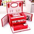 Mode Ohrringe Ringe Halskette Lagerung Fall Elegante Frauen Leder Schmuck Box Lagerung Organizer Container Schmuck Schatulle Boxen