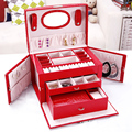 Pendientes de moda anillos collar caja de almacenamiento elegante de cuero para mujer caja de joyería organizador de almacenamiento caja de joyería contenedor cajas de medallón