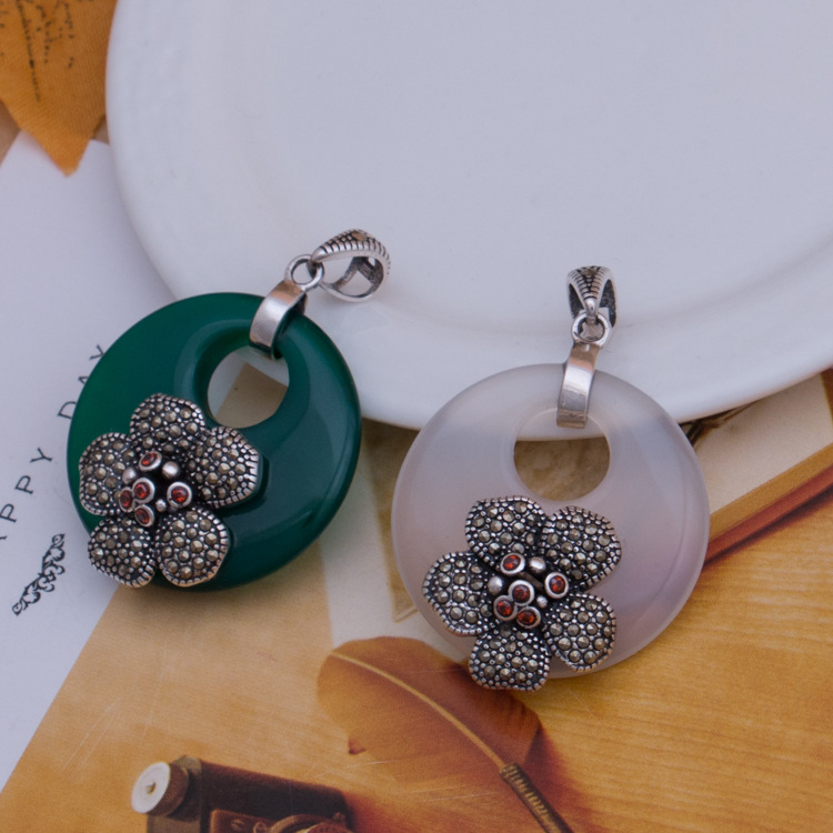 S925 Sterling Silver Marcasite Silver Natural Stone Pendant Pendant Chain retro flower sweater wholesale 2108 new silver s990 silver dollar topaz korean edition hollowed out silver sterling sweater chain lady s pendant wholesale