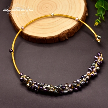 GLSEEVO Colored Baroque Natural Pearl Necklace Cool For Women Accessories Gifts Birthday Necklace Luxury Fine Jewelry GN0061-4