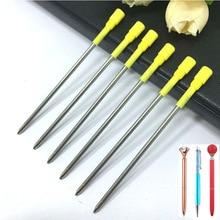 20pcs/lot Metal Crystal Pen Refill Diamond Ballpoint student pen rod cartridge core ink recharge black blue 8.2cm