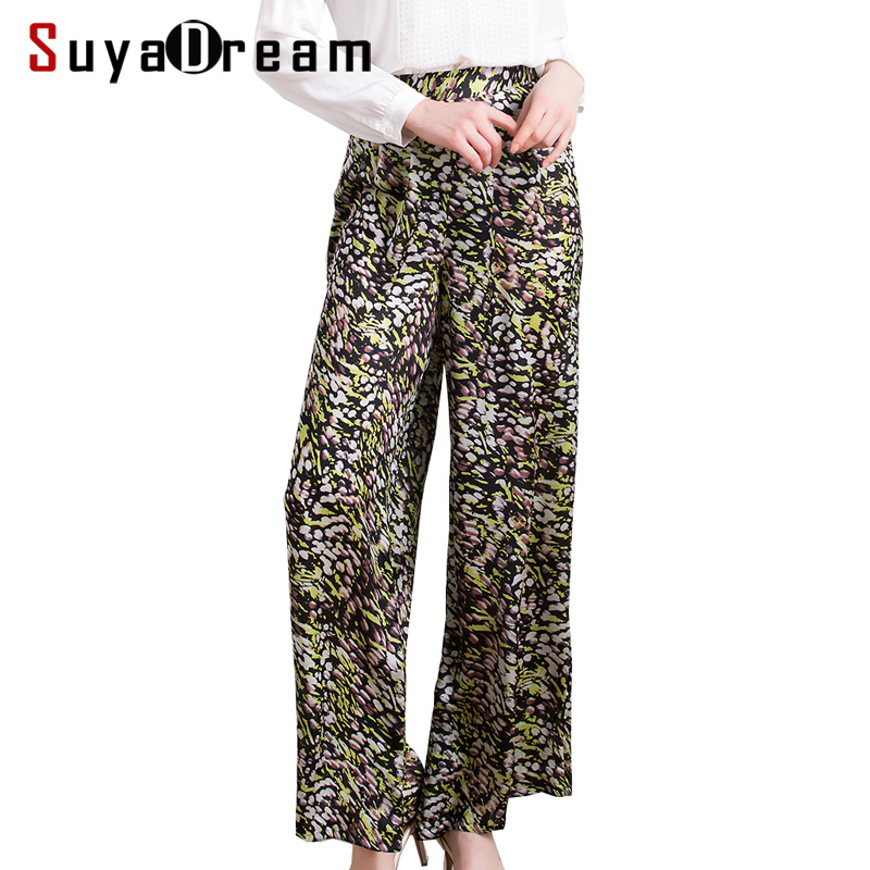 Women Long pants 100%Natural silk Casual Printed Wide Leg pants Side Zipper 2018 Spring Summer
