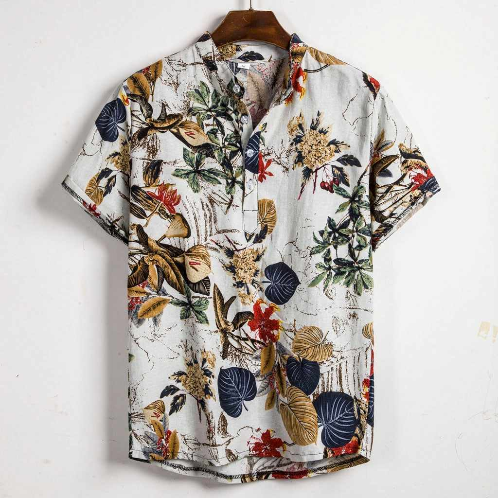 feitong Hawaiian Shirt Men Cotton Linen Ethnic Short Sleeve Casual Hawaiian Printing Cool Thin Breathable Shirt Beach Blouse Top