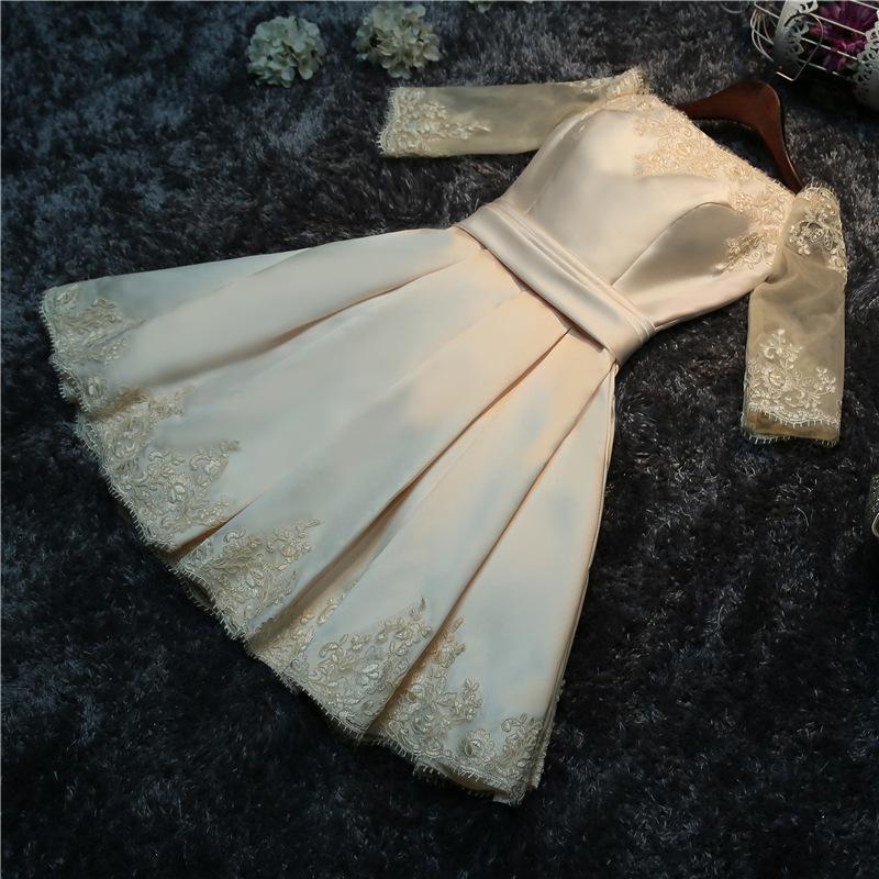 Do Dower 2019 nouveau Satin Champagne Robe de soirée courte élégant col bateau hors de l'épaule à lacets Robe de soirée de bal Robe de soirée L