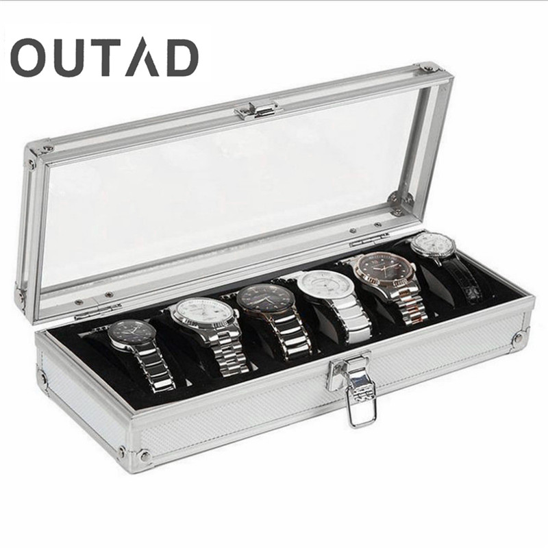 6 Grid Insert Slots Jewelry Watches Display Storage Box Case Aluminium Watch Box Jewelry Decoration