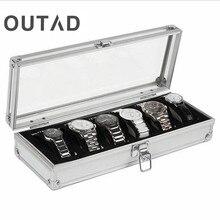 6 Grille Insérer Slots Bijoux Montres Afficher Boîte De Rangement Case En Aluminium Boîte de Montre Bijoux Décoration