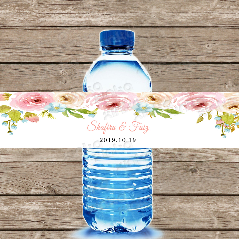 Personalized Floral Watercolor Bridal Shower Water Label, Water Bottle Labels Customizable, Pink Flower Wedding