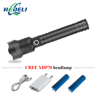 Super bright zoomble led flashlight 18650 or 26650 cree xhp70 torch flashlight usb Rechargeable lampe torche hunting hand lamp