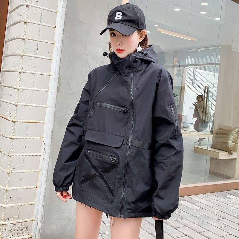 Spring 2019 Black Loose Hood Harajuku Long Casual Hip Hop Jacket Windbreaker Women Bomber Jacket Streetwear Coat Ladies QH273