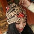 2016 Флаг Шапочки Трикотажные женщин Зимняя Шапка Шапки Skullies Bonnet Зима шляпы Для мужчин Женщины Шапочка Мех Теплый Багги Шерсть Вязаная Шапка