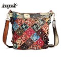 AEQUEEN Crossbody Bags For Women Messenger Bag Ladies Shoulder Bags Genuine Leather Patchwork Diamond 3D Flower Random Color