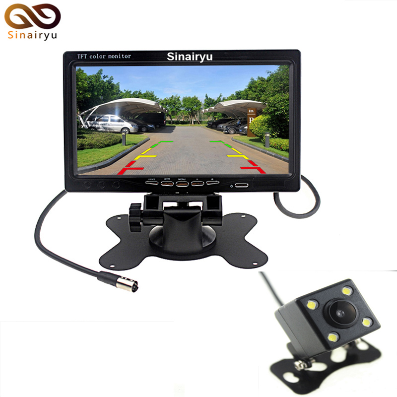 Auto Parking Reverse Camera Monitors 7 inch Car Rear View Mirror Monitor With 4 LED Night