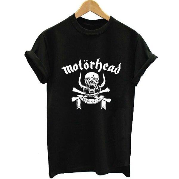 Unisex Suelta Estilo Motorhead Extranjero Heavy Metal Verano de Las Mujeres Carta Imprimir Camiseta Del Swag Moda Mujer Impreso Camiseta Cabeza Del Motor