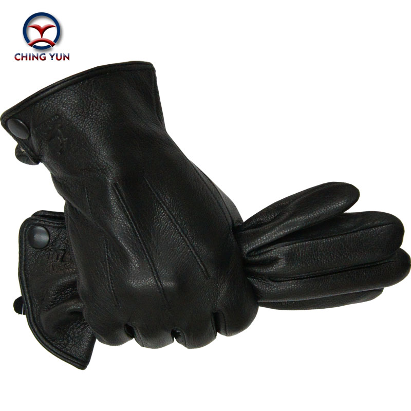2016 New Winter Free shipping man imitate deer skin leather gloves male warm soft black men mittens sheep hair lining