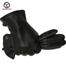 2016 New Winter Free shipping man imitate deer skin leather gloves male warm soft black men mittens sheep hair lining