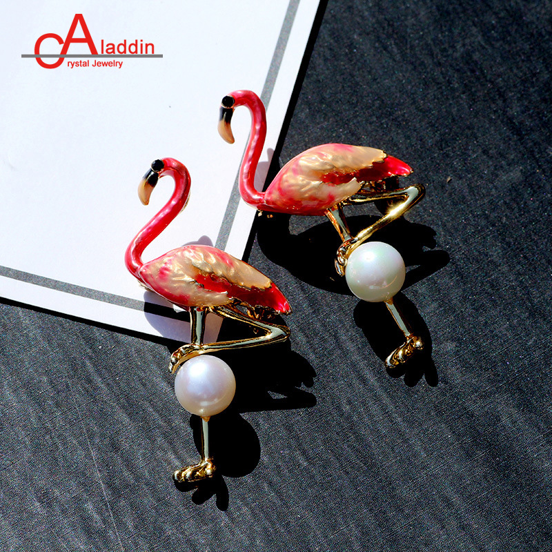 Lakke Women Colorful Glaze Flying Flamingo Metal Bird Brooch Pin Badge Gift Jewelry For Girl