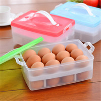 Double Deck Eggs Holder Box Covered Egg Dispenser With Handle For Refrigerator 24 Eggs Capacity Blue