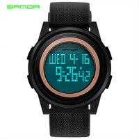 SANDA Men Women Sports Watches Double Time Countdown Military Watch 50M Waterproof Digital Wristwatches Clock Relogio