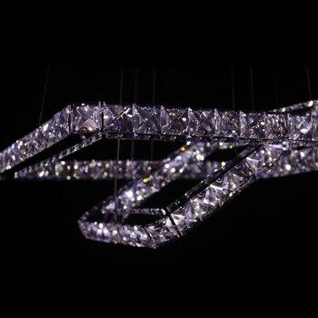 Современная светодиодная Подвесная лампа из нержавеющей стали, 2 квадратных кольца, хромированная отделка, прозрачный кристалл K9, светодио...
