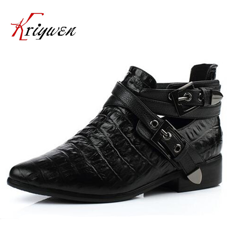 Be customized plus size 33-42 cowhide leather genuine pointed toe fashion women buckle ankle boots lady lady girl martin shoes цены онлайн