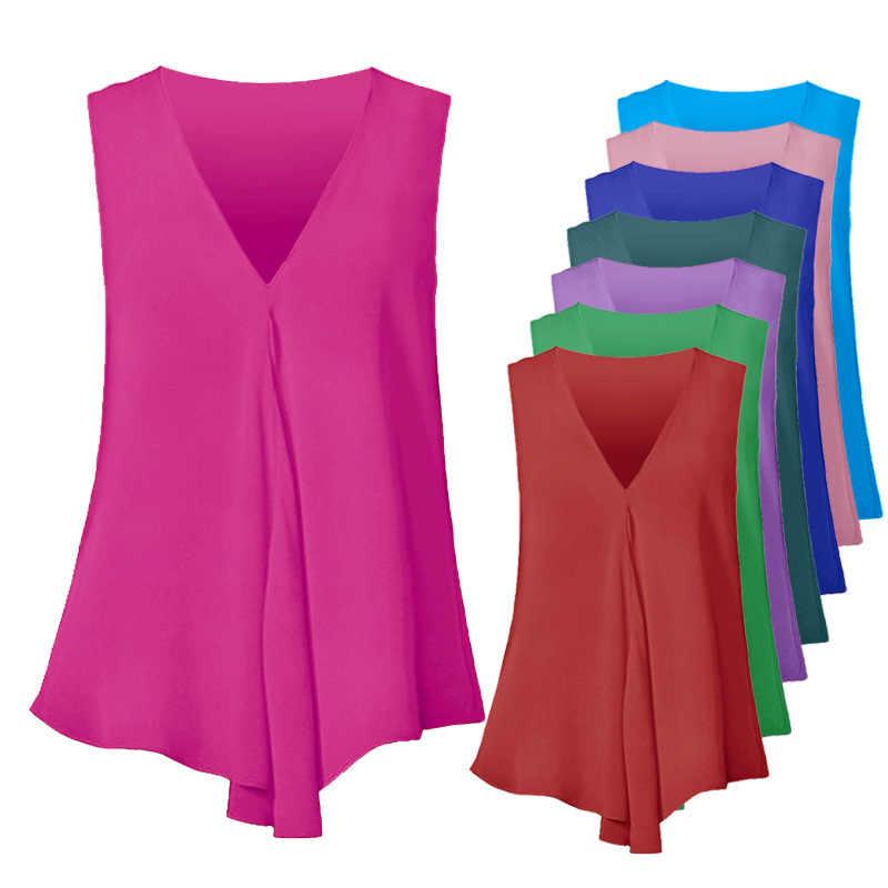 Большие размеры, S-6XL, женские шифоновые блузки, Сексуальная рубашка без рукавов с v-образным вырезом, модные летние женские топы, Blusas Femininas