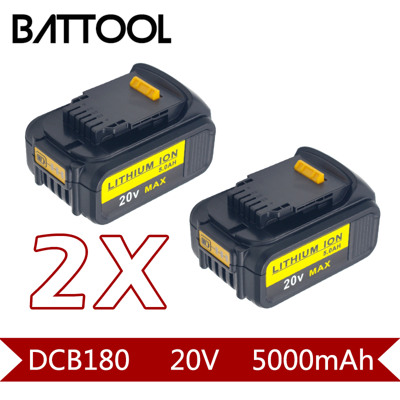 2X 18V 5000mAh Li-ion DCB180 Rechargeable Battery For DEWALT DCB180,DCB181,DCB181-XJ,DCB200,DCB201,DCB201-2,DCB204,DCB20 5000mah 20v lithium ion power tool rechargeable battery replacement for dewalt 20v dcb181 dcb180 dcb182 dcb200 dcb201 dcb203