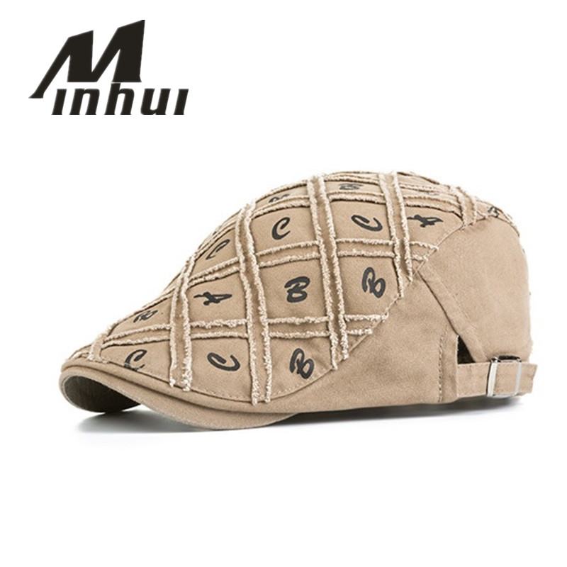 Minhui New Cotton Berets Caps For Men Casual Peaked Caps ABC Letters Berets Hats Casquette Cap Plaid Flat Cap