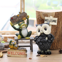 Country Resin Animal Figurine WELCOME Shop Door Welcome Decoration For Home Garden Restaurant Furnishings Props
