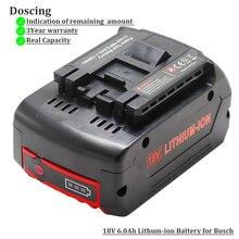 Bateria recarregável para bosch, bateria recarregável para ferramenta elétrica 18v 6000mah sem fio para furadeira bosch bat609 bat618 pro jsh180