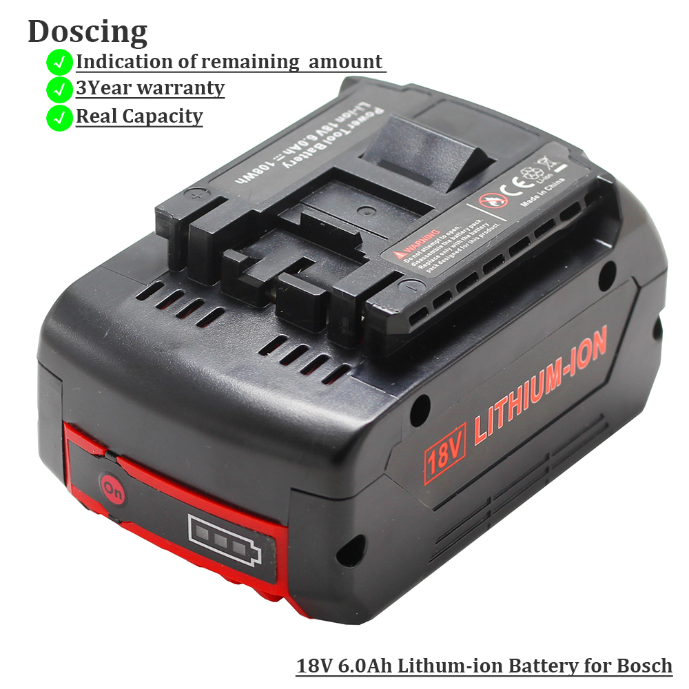 For <font><b>Bosch</b></font> <font><b>18V</b></font> 6000mAh Power Tools <font><b>Battery</b></font> Rechargeable <font><b>Batteries</b></font> Pack Cordless for <font><b>Bosch</b></font> Drill BAT609 BAT618 3601H61S10 JSH180 image