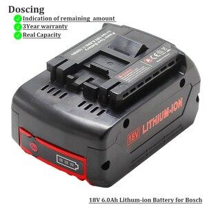 Image 1 - Voor Bosch 18 V 6000 mAh Power Tools Batterij Oplaadbare Batterijen Pack Cordless voor Bosch Boor BAT609 BAT618 3601H61S10 JSH180