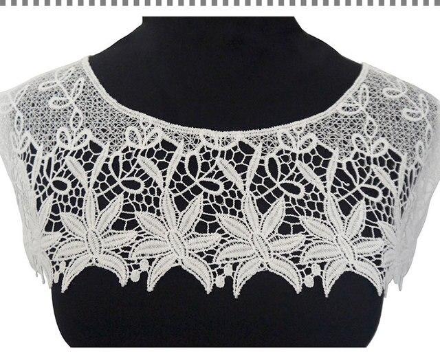 Sdsl003 blanco malla crochet bordado Encaje collar hueco cuello ...