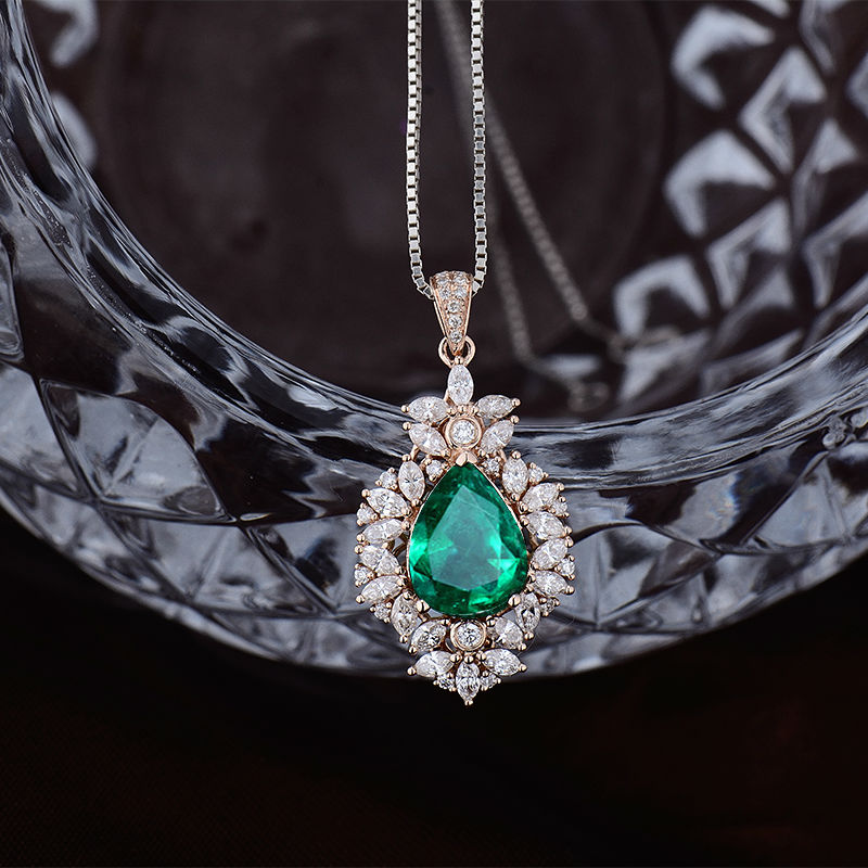 emerald in new diamond on design cut natural for item pendants jewelry marquise solid wedding accessories pendant rose loverjewlery sale gold from