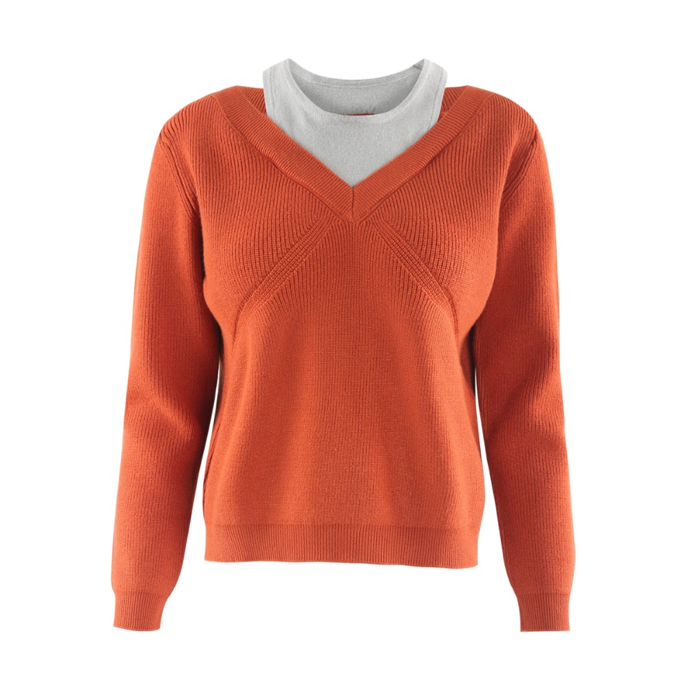 HDY Haoduoyi Brand Women Brown Grey Casual Sweaters Cold Shoulder Sexy Pullovers Female Long Sleeve Patchwork Tops Lady in Pullovers from Women 39 s Clothing