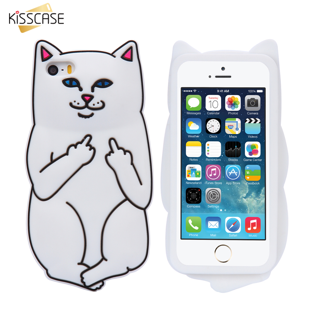 new product 21f7e 6858e US $2.99 25% OFF|KISSCASE Cat Case For iPhone 7 6 6s 8 Plus Case Silicone  3D Cartoon Middle Finger Ripndipp Cat Cover Case For iPhone X 10 5s SE-in  ...