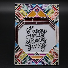 FeLicearts thanksgiving rectangle frame dies and stamp for scrapbooking albulm photo decorative card making new metal