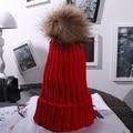 Mujeres Moda de Invierno Lindo Sombrero de Bola de Pelo Decoración Beanie Grueso Gorro de Punto Caliente
