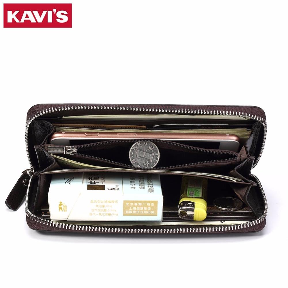 KAVIS Genuine Leather Wallet Men Female Male Cuzdan with Women Zipper Clutch Walet Handy Long Coin Purse Rfid Portomonee Black