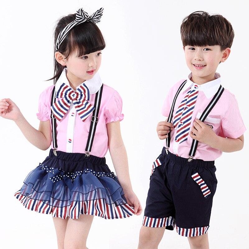 2016 Latest Trendy Popular Kids School Uniform Summer Comfortable Cotton Red Blue Striped Boy Girl Strap Skirt/shorts Suit seitokai no ichizon cosplay school boy uniform h008
