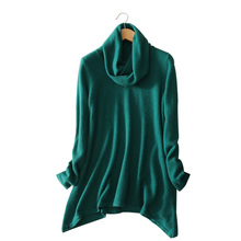 cashmere pullovers solid color turtleneck long sleeve asymmetric hem sweater women's autumn and winter outwear sweaters