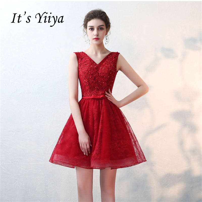It's YiiYa Lace V-neck Sleeveless Illusion Mini Bow Flowers Above Knee Dinner   Bridesmaids     Dresses   Party Short Formal   Dress   LX061