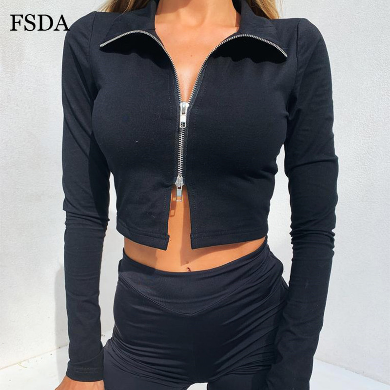 FSDA Black White Zipper <font><b>Crop</b></font> <font><b>Top</b></font> V Neck Long <font><b>Sleeve</b></font> <font><b>Short</b></font> Women Casual Autumn <font><b>Sexy</b></font> Solid Black Party Streetwear Summer <font><b>T</b></font> <font><b>Shirt</b></font> image