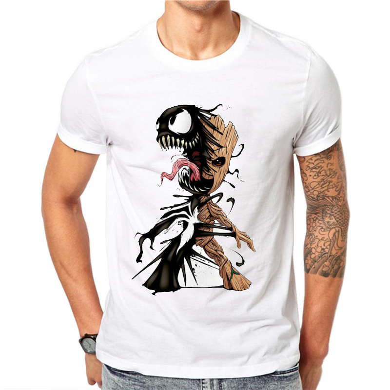 New Sale Men T Shirt Groot And Venom Mens Clothing Printed ...