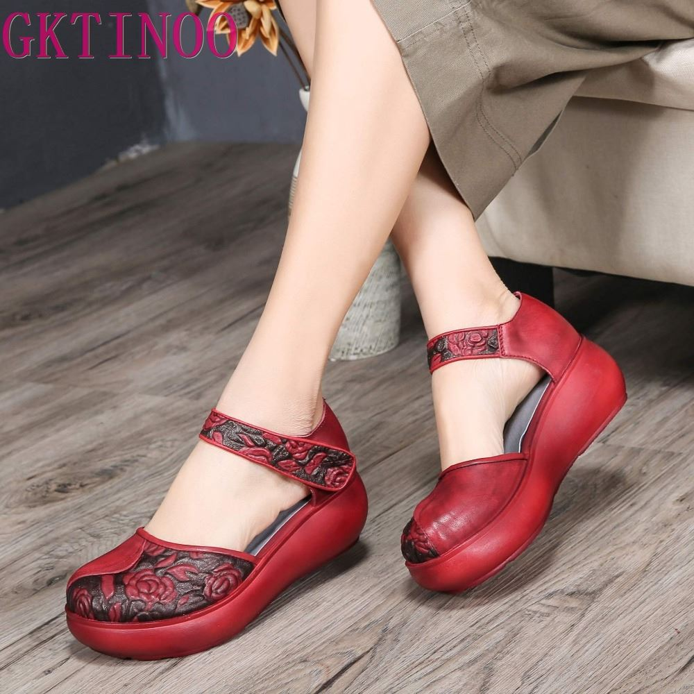 GKTINOO Genuine Leather Women Sandals Embroidery 6CM High Heels Sandals Wedge Summer Shoes Retro Handmade Women Leather ShoesGKTINOO Genuine Leather Women Sandals Embroidery 6CM High Heels Sandals Wedge Summer Shoes Retro Handmade Women Leather Shoes