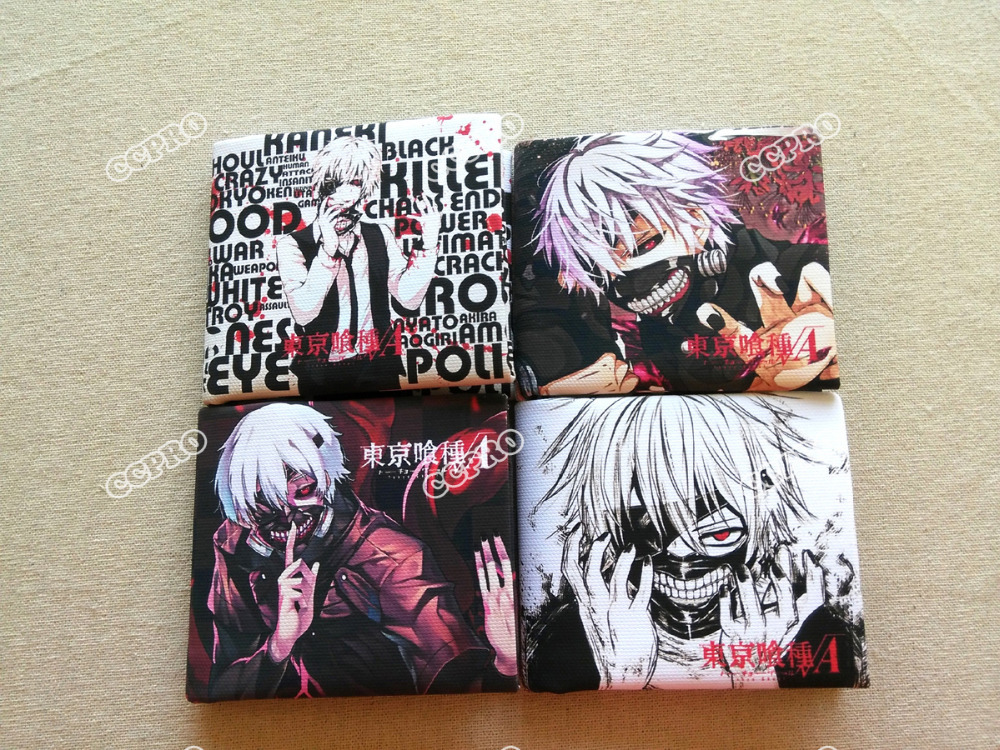 Anime Tokyo Ghoul PVC cloth handmade short wallet/purse printed with Kaneki Ken zshop anime tokyo ghoul wallet