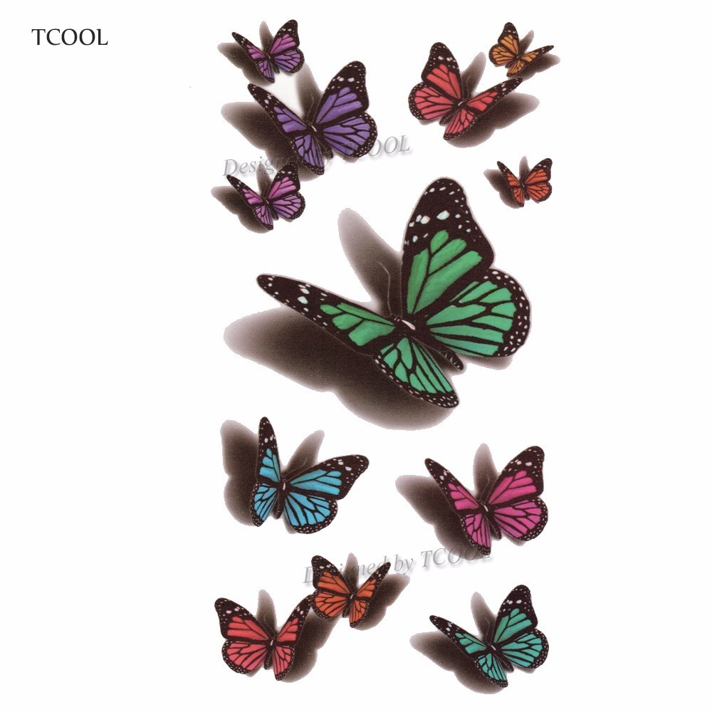 HXMAN Butterfly Women Temporary Tattoo Sticker Tattoos For Men Fashion Body Art Kids Children Hand Fake Tatoo 10.5X6cm A-227