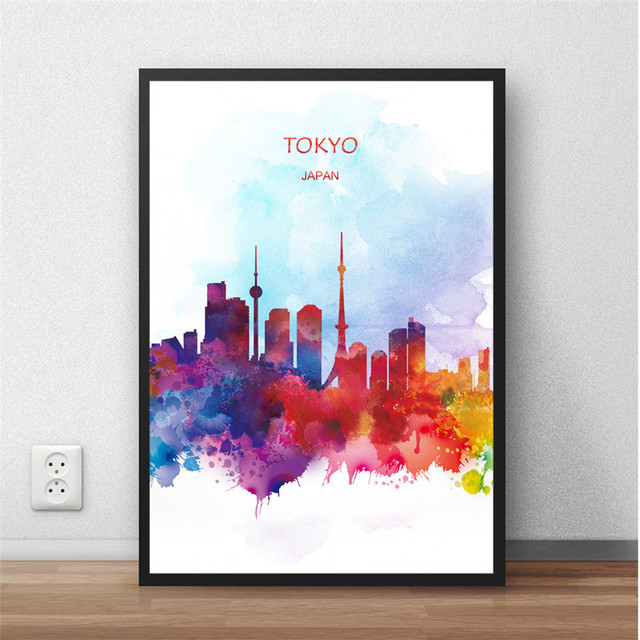 Abstract watercolor tokyo japan world city painting print poster modern wall sticker living room home decor